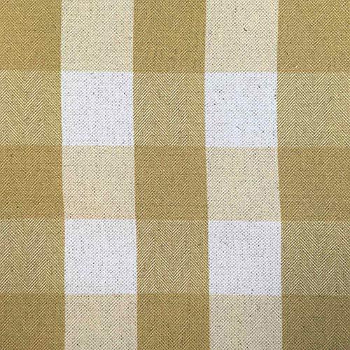 Tela por metros de loneta estampada digital - Panamá - Algodón, lino - Ancho 280 cm - Largo a elección de 50 en 50 cm   Cuadros - Beige, mostaza
