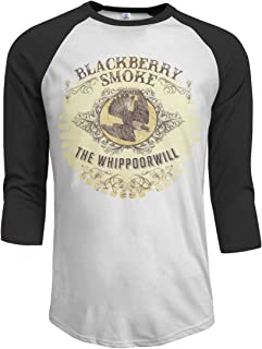MarshallD Men's BlackBerry Smoke The Whippoorwill 3/4 Sleeve Raglan Baseball T-Shirts Black