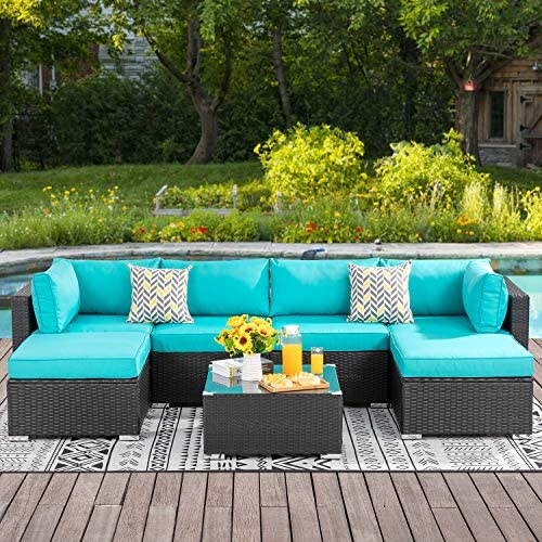 Best Walsunny 7pcs Patio Outdoor Furniture Sets,Low Back All-Weather Rattan Sectional Sofa with Tea Table