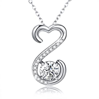 APOTIE 925 Silver Open Heart Necklace Cubic Zirconia Pendant Jewelry Gift for Your Love