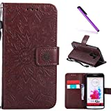 LG G3 Case,LEECOCO Fancy Embossed Floral Pattern Wallet Case with Card/Cash Slots [Kickstand] Shockproof Premium PU Leather Flip Case Cover for LG G3 with 1 x Stylus Pen Mandala Brown