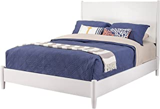 Alpine Furniture Mid Century Platform Bed, Queen, White