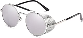 CVOO Retro Sunglasses Steampunk Style Round Metal Frame for Men and Women