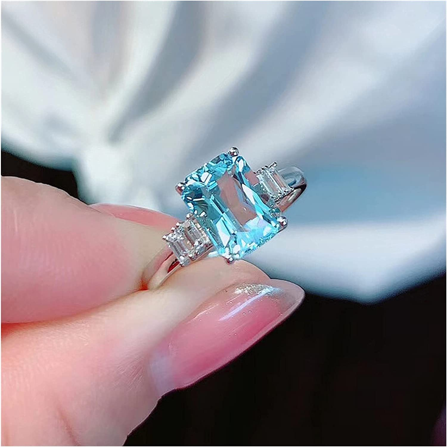zhengyang Fashion Excellent Blue Crystal Aquamarine Sale special price Diamond Women's Ring J