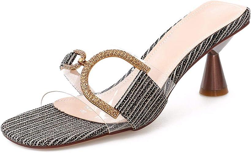HBDLH Chaussures pour Femmes Pantoufles sont Portés à L'Extérieur L'été Est Simple C'est De Couleur Transparent Orteils Dur avec Les Chaussures De Femme des Sandales.