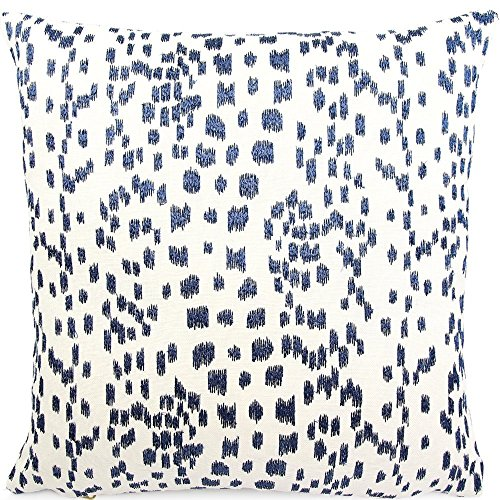 "Chloe & Olive Spotted Embroidered Animal Leopard Print Throw Toss Pillow Cover, 18"" or 20"" Square Accent Pillow Cover, Blue and White Cushion Sham, Brunschwig & Fils, Les Touches Embroidered Indigo"