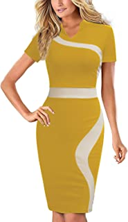 REPHYLLIS Women's Vintage One Piece Office Wear to Work Pencil Dress