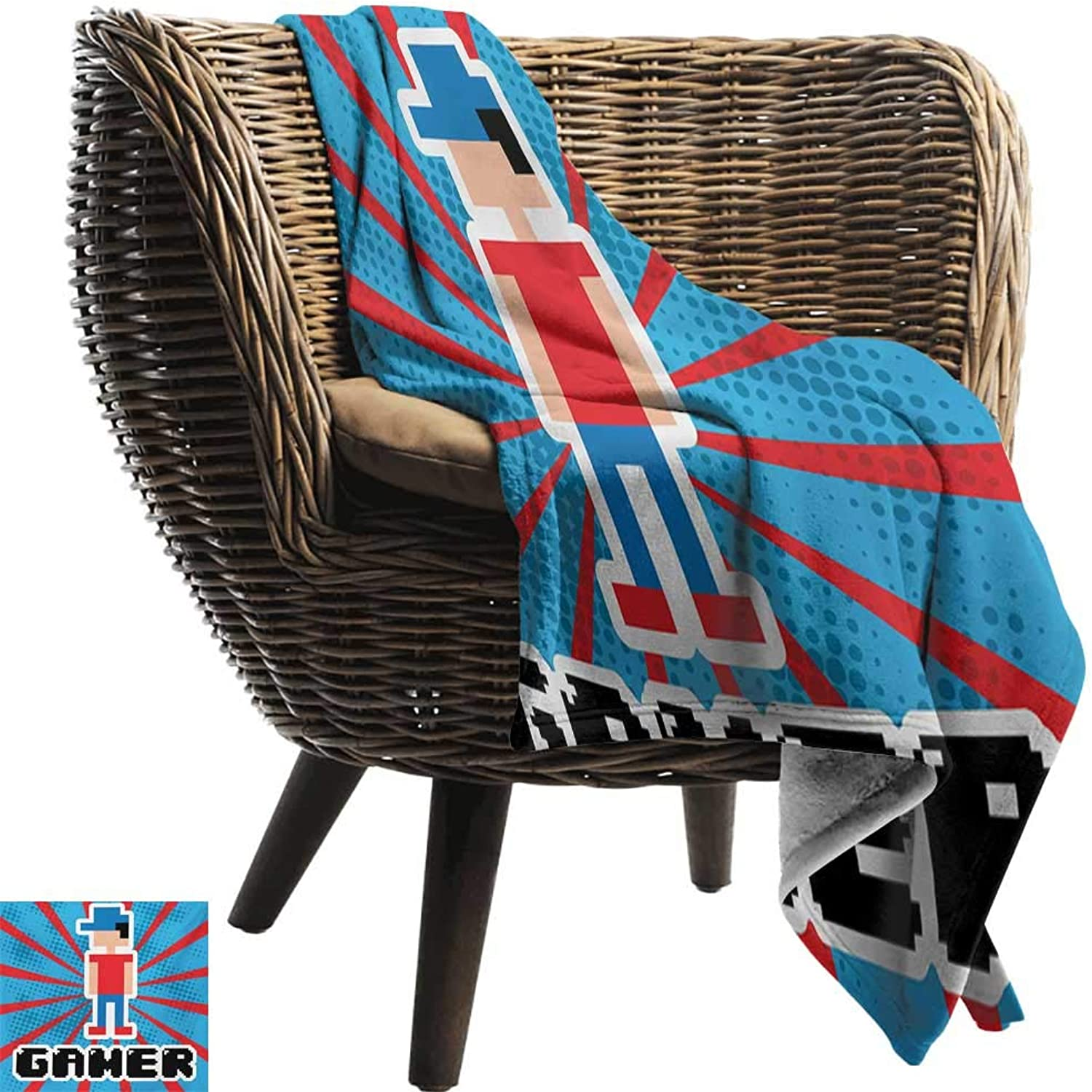 BelleAckerman Cool Blanket,Video Games,bluee and Red Striped Boom Beams Retro 90s Toys Boy with Cap,Vermilion bluee White Black,for Bed & Couch Sofa Easy Care 50 x70