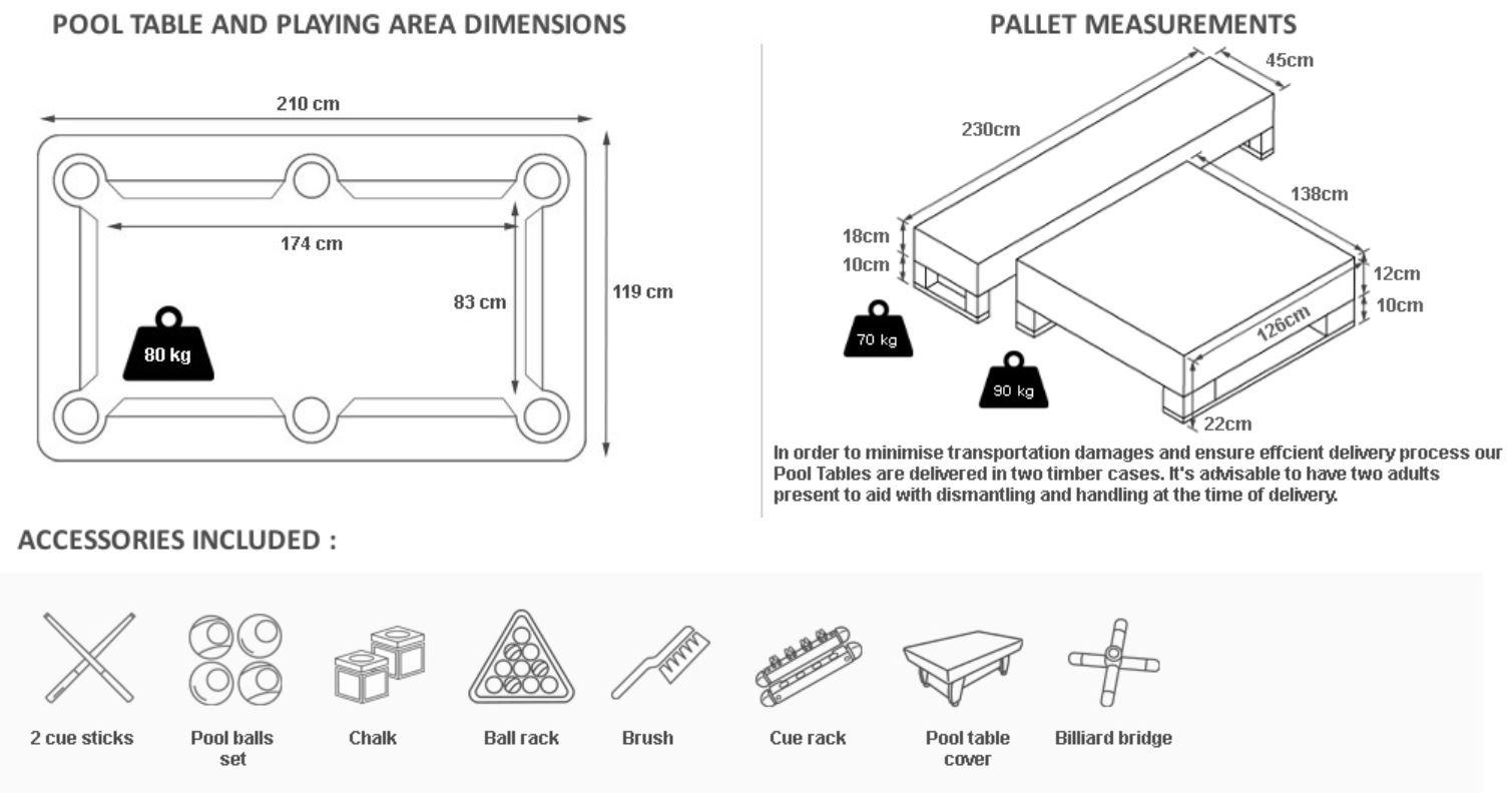 RADLEY Mesa de Billar 6 pies Diamante + Opciones para Personalizar ...
