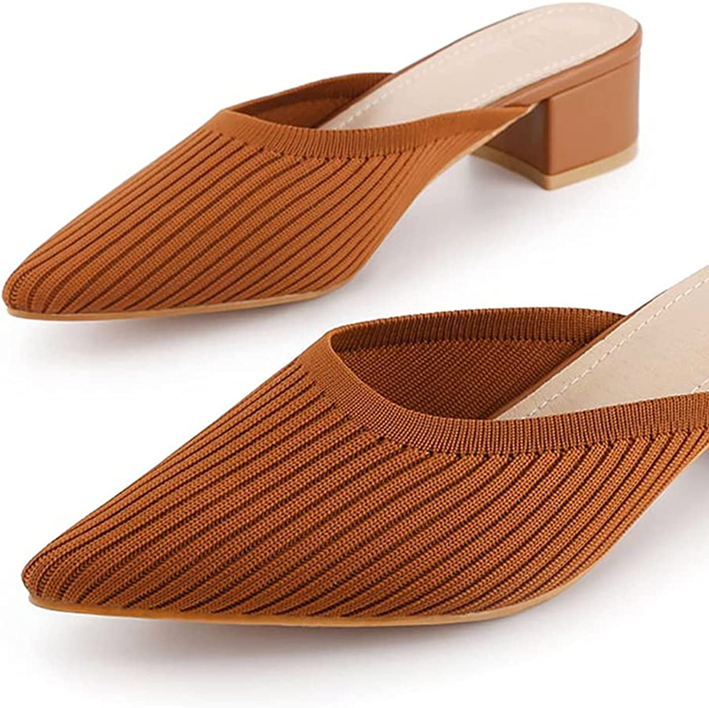 TIJN Pointed Fort Worth Mall Toe Mules Max 86% OFF for Women Sandals Sanda Low Chunky Heeled