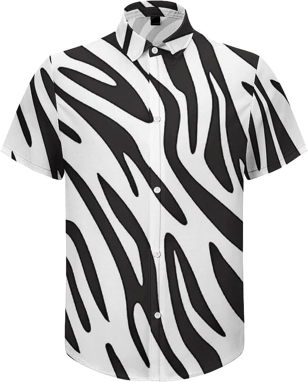 Men's Regular-Fit Short-Sleeve Printed Party Holiday Shirt Zebras Print Stripes