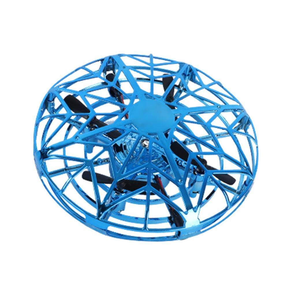Mini Drone Quadcopter Induction Levitation UFO LED Light USB Charging Gift for Children (Blue)