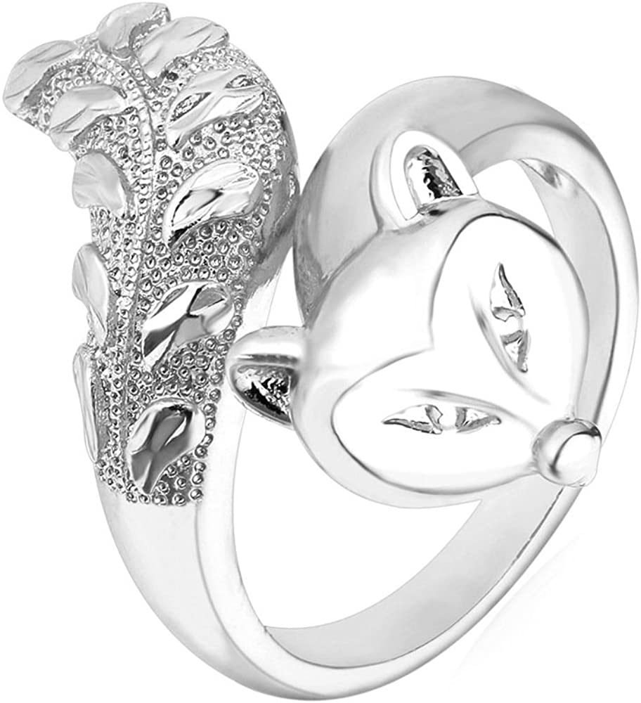 U7 OFFicial mail order Women Statement Ring Platinum Plated Long Low price Animal Hollow