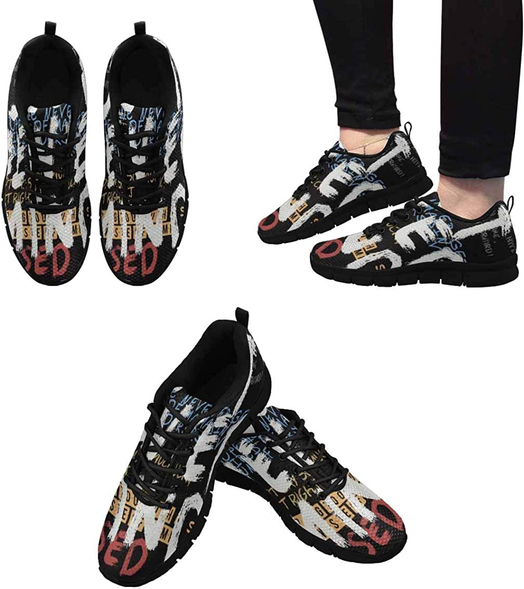 INTERESTPRINT Typography Background Women's Sneaker Lace Up Running Comfort Sports Shoes