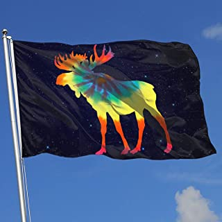 A13UDQ Outdoor Flags Tie Dye Canadian Moose 3X5 Ft Flag for Outdoor Indoor Home Decor Sports Fan Football Basketball Baseball Hockey