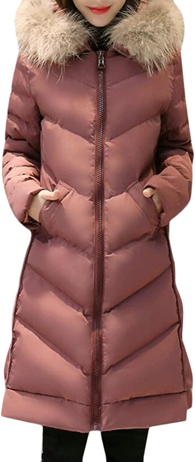 Suncolor8 Womens Winter Warm Fur Hooded Long Quilted Jacket Padded Coat Outerwear