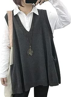 WM9 Women Casual Cute Sweater Vest Loose Swing Hemline/Pockets