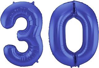 Folat 08458 – folieballong nummer 30 – matt blå – ca 86 cm hög