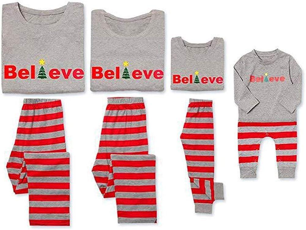 Matching Family Christmas Pajamas Sets Christmas PJ's with Red Stripe Long Sleeve Tee and Pants Loungewear