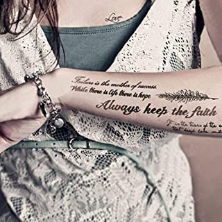 Kotbs Temporary Tattoos Paper Lovely English Words & Feather Designs Body Art Make up for Women Fake Tattoo Sticker (6 She...