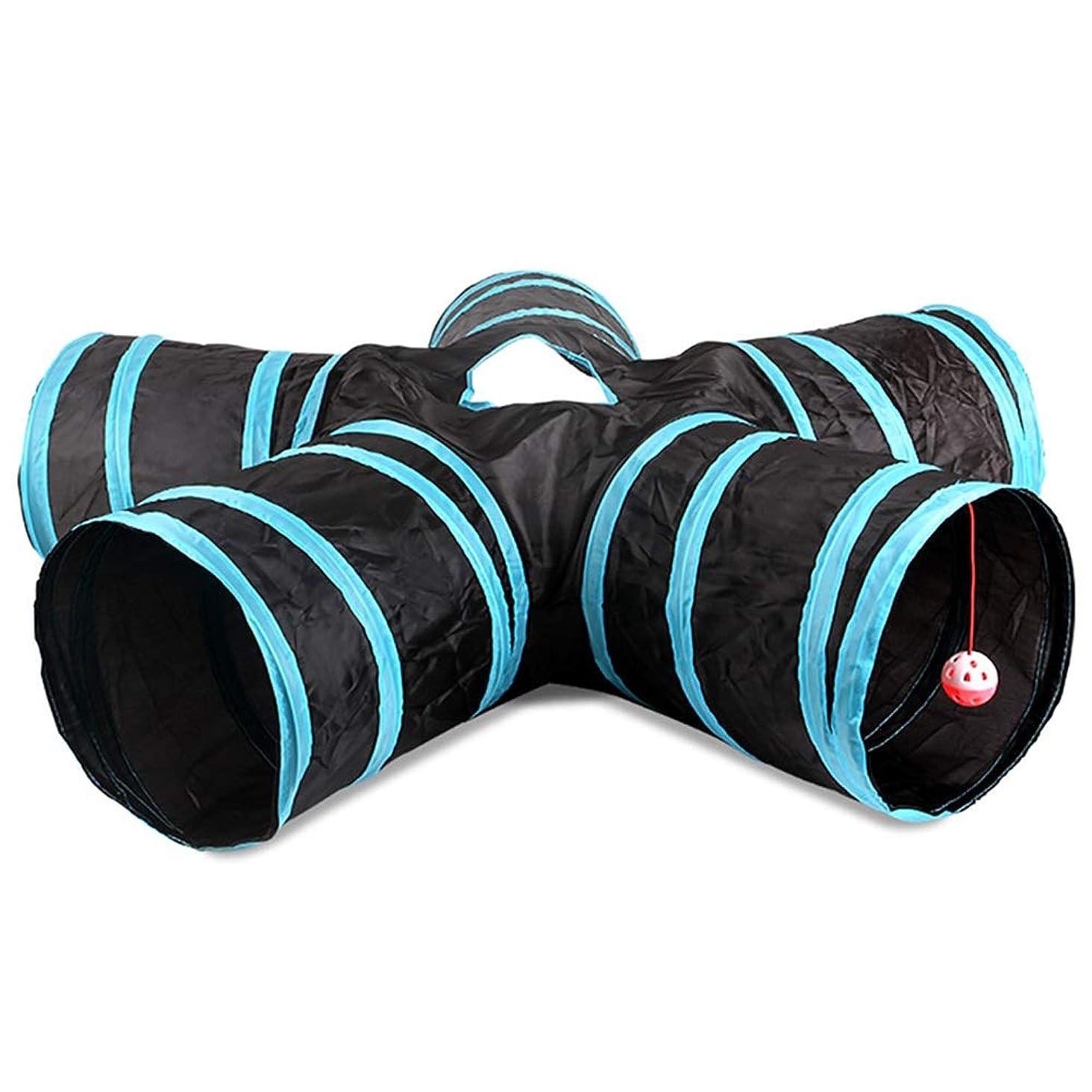 節約バタフライ勇敢な猫のトンネル ペットのトンネルキャットチャンネル教育玩具環境保護紙テントテントペットチャンネル 猫のおもちゃのトンネル (色 : 青, Size : ONE SIZE)
