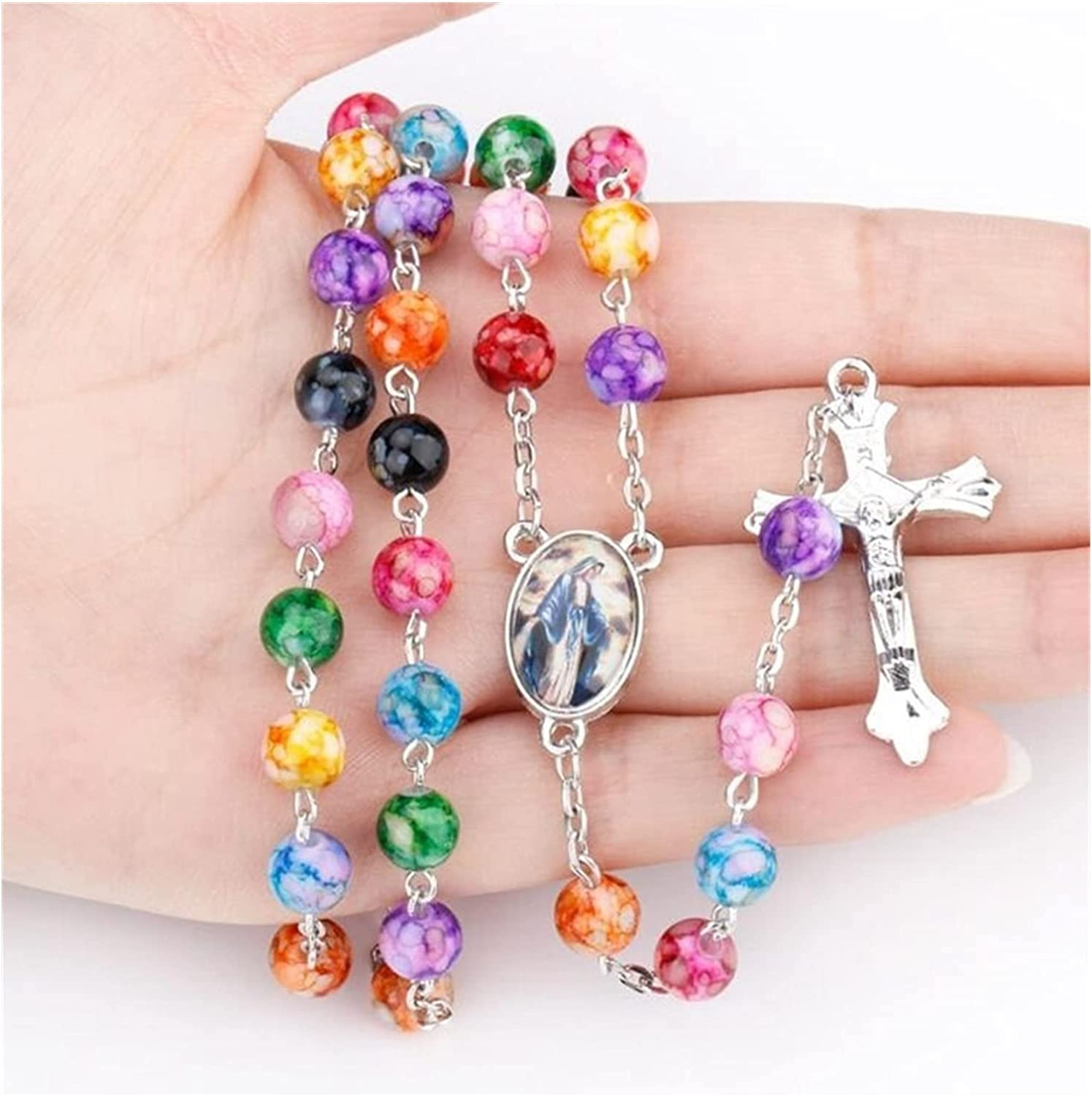 JIAQ Hip Hop Exquisite Colored Beads Catholic Our Lady Rosary Necklace Religious Jesus Cross Necklace (Metal Color : Multicolor)