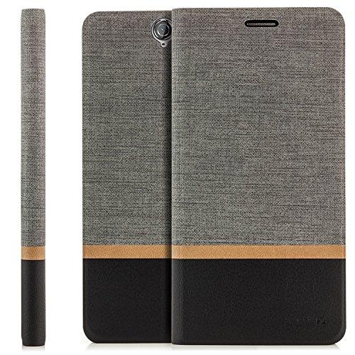 zanasta Tasche kompatibel mit HTC One A9 Hülle Flip Hülle Schutzhülle Handytasche mit Kartenfach Grau