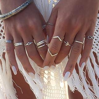 Simsly - Juego de anillos de nudillos con forma de estrella y luna, para mujeres y niñas (12 unidades)