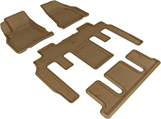 3D MAXpider Complete Set Custom Fit All-Weather Floor Mat for Select GMC Acadia/ Acadia Denali/ Acadia Limited Models - Kagu Rubber (Tan)