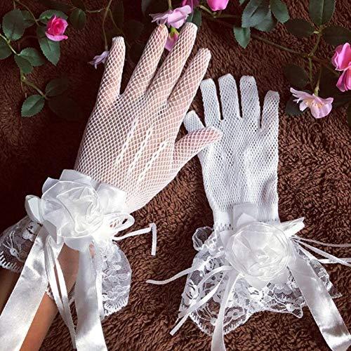 GBSTA Trouwhandschoenen Mode Bruid Zomer Bruidsjurk Handschoenen Kant Grote Bloemen Kort met Vingers Wanten Mesh