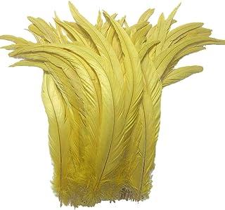 AABABUY - Juego de 100 plumas de cola de gallo teñidas de 12-14 pulgadas para decoración de disfraces amarillo