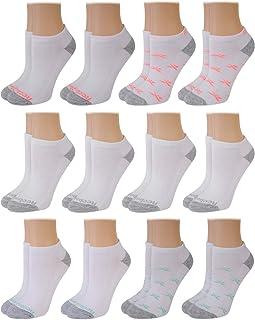 Reebok, Calcetines acolchados para mujer, transpirables, de corte bajo, acolchados, para mujer, paquete de 12