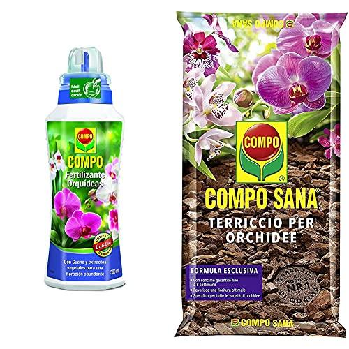 Compo 1408902011 – Fertilizzante per Orchidee da 500 ml & COMPO Sana Terriccio per Orchidee, per Una fioritura ottimale, 5 l