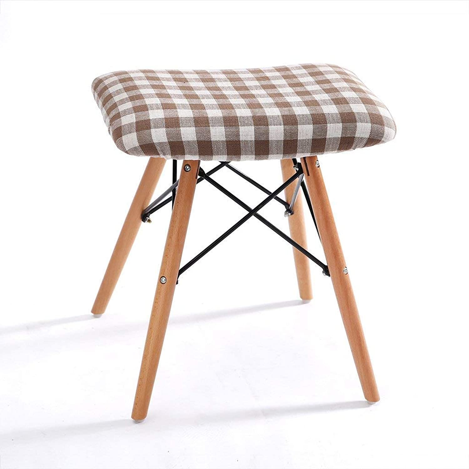 Stool Solid Wood Dining Stool, Fabric Washable Chair, Modern Leisure Computer Chair, Home Stool,