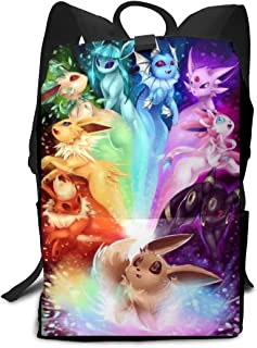 Rnlika Poke E-Evee Family School Backpack Durable Lightweight Large Space Daypacks Suitable for Students or Adults