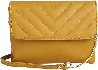 ELLIZA DONATEIN Womens PU Formal Wear Slingbag (S21EDIN1420SLOC001, OCHRE, SMALL)