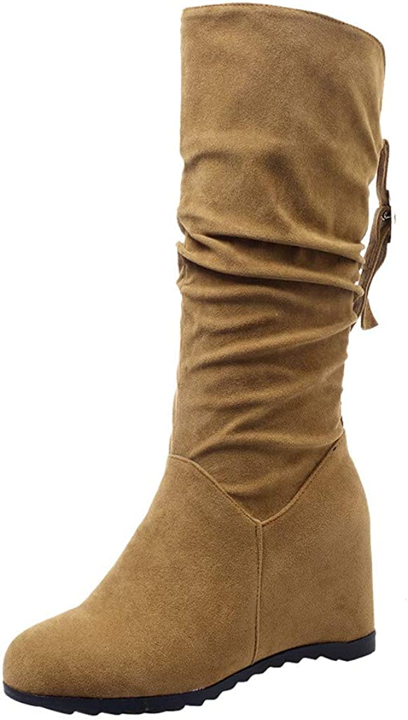 Winter Suede Knee High Boots For Women Low Heel,Fashion Slip-On Flat Vintage Heeled Boot Shoes Sunmoot-Shoes