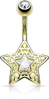 PSUM Unisexo Piercing En El Ombligo Estrella Acero Inoxidable Latón Circonita Claro 1.6mm x 10mm HBJ-N16376
