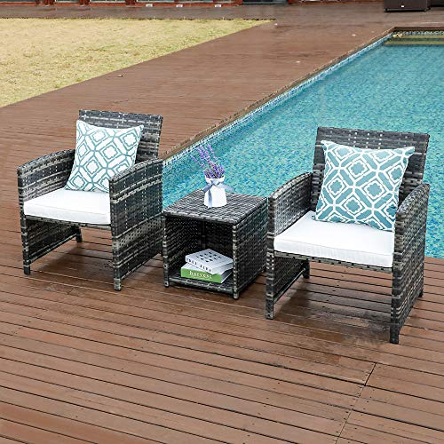 OC Orange-Casual 3 Piece Outdoor Wicker Bistro Set Patio Furniture Set Cushioned Chair with Storage Side Table (2 Pillows Included) (2 Styles Cushion Cover)
