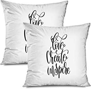 Ahawoso Set of 2 Throw Pillow Covers Square 18x18 Love Create Drawn Inspire Hand Lettering Text Script Inscription Signs to Symbols Dream Abstract Zippered Pillowcases Home Decor Cushion Cases