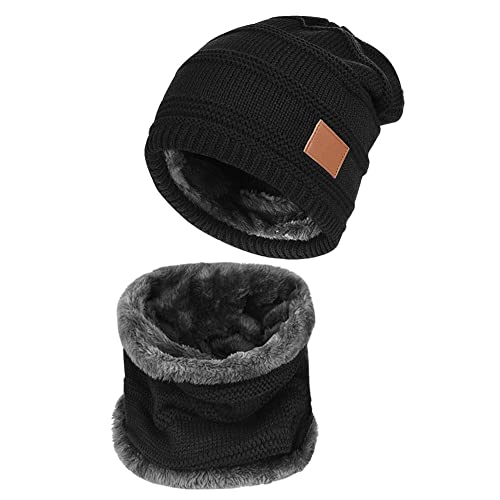 Men s Knitted Beanie Hats and Circle Scarf Set for Winter Outdoor Sports 41f285d72d84