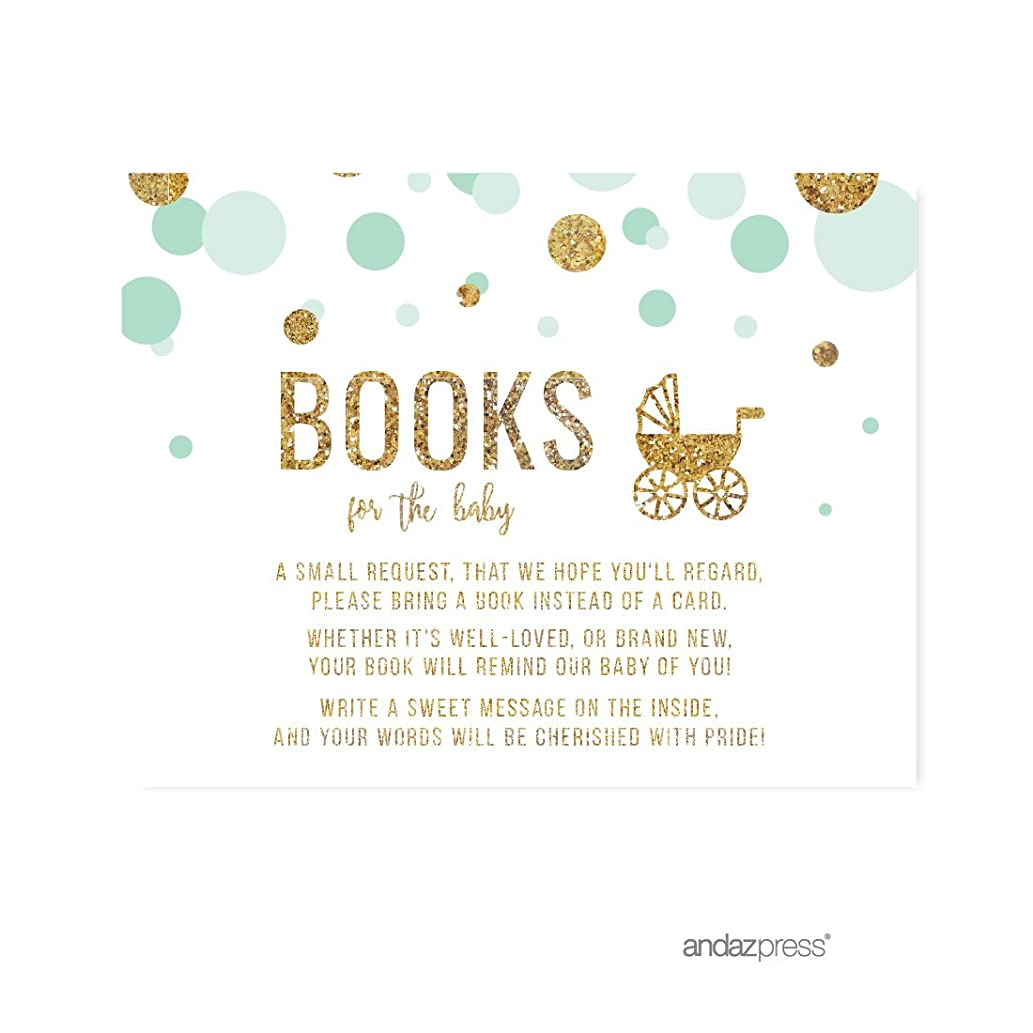 Andaz Press Mint Green Gold Glitter Boy Baby Shower Party Collection, Games, Activities, Decorations, Books for Baby Request Cards, 20-pack