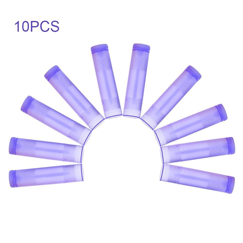 区別ポール要旨Nrpfell 10本 パープル リップスティック 空のチューブ ワックスチューブ リップスティック DIYリップスティックチューブ 化粧品包装ボトル5g