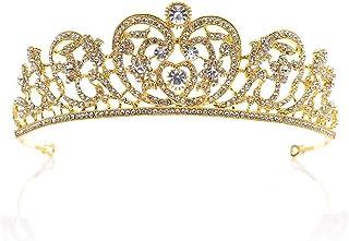 Dongyu Accessori for Capelli da Sposa Corona, Strass Diadema da Sposa con Corona di Bellezza, Copricapo (Color : Gold)