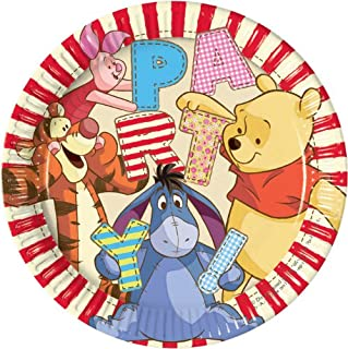 Disney Winnie Alphabet Paper Plates Large 23cm -8ct, Unisex