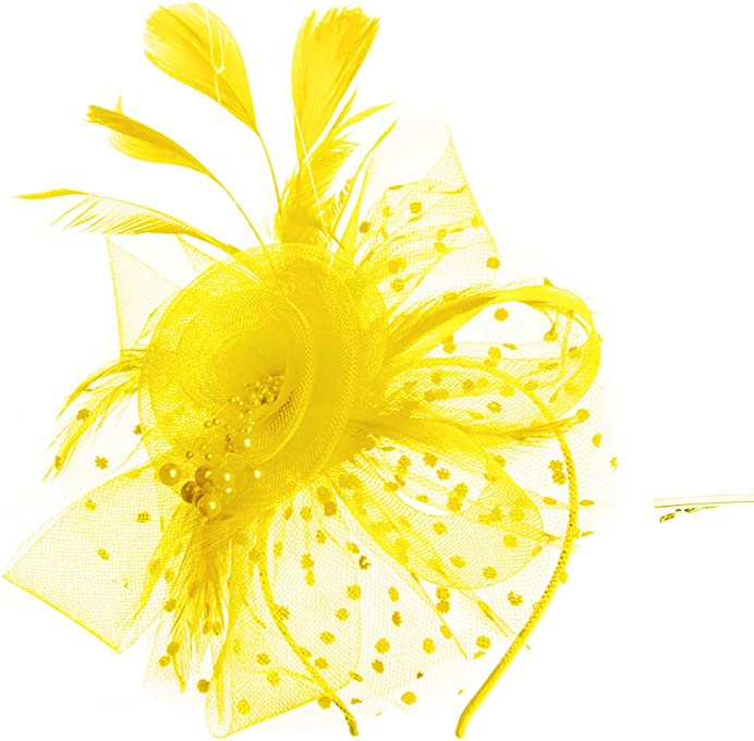 SAFERIN Fascinators Hat Sinamay Flower Mesh Feathers on a Headband and a Clip Tea Party Headwear for Girls and Women
