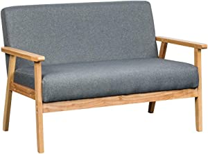 Lilola Home Bahamas Gray Linen Fabric Upholstered Padded Wooden Arm Loveseat Contemporary Modern Coastal Look Natural Grey Color Compact Sofa Couch
