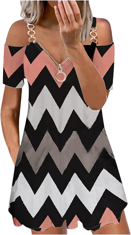 JIANSHAN Dresses for Women Cold Shoulder Short Sleeve Print V-Neck Off Shoulder Zipper Summer Party Casual Midi Dress