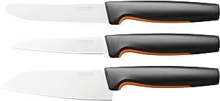 Fiskars Küchenmesser-Set, 3-teilig, Functional Form, Inklusive Kochmesser klein, Tomatenmesser, Schälmesser, Japanischer Edelstahl/Kunststoff, 1057556