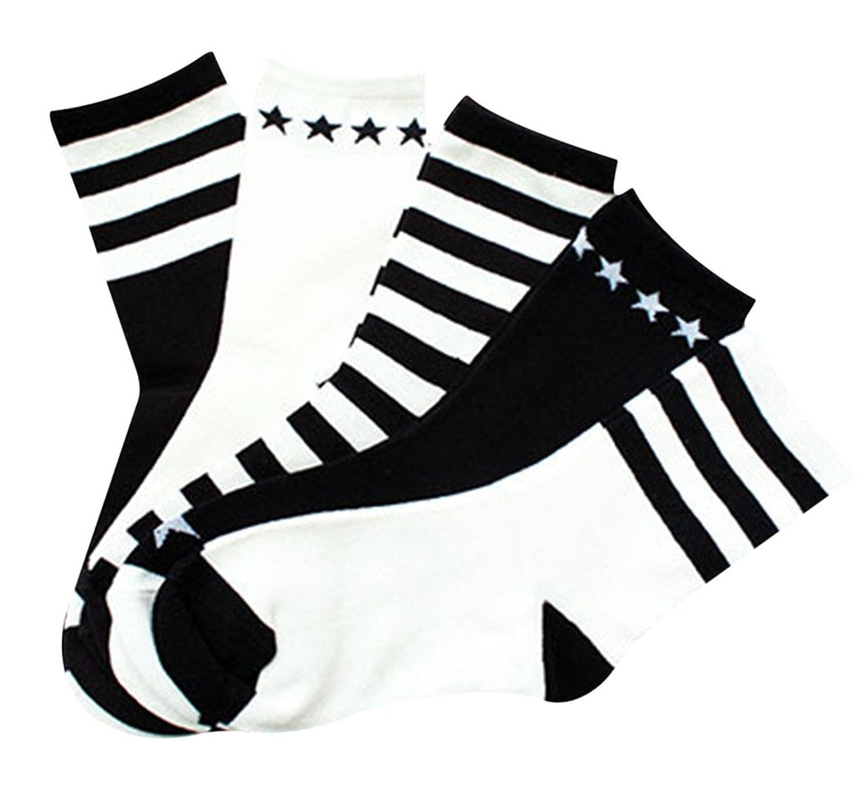 (ビグッド)Bigood レディースソックス スポーツソックス くつ下 靴下 女性用 クォーターレングス ストライプ ソックス スポーツ カジュアル 5足入り